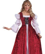 Deluxe Medieval Maid Marion Gothic Gown Tudor Queen Fancy Dress Costume