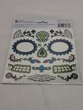DAY OF THE DEAD Halloween Costume Temporary Tattoo Mas Blue