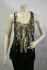 $198 BCBG BLACK GOLD (ZPPI2074) SEQUIN SLEEVELESS SILK TOP NWT S