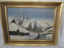schönes Gemälde einer Berghütte im Winter signiert