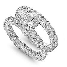 3CT HIGH SETTING CUBIC ZIRCONIA ETERNITY WEDDING RING & BAND SET-925-FLAWLESS 6
