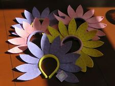 Easter Spring Flower Pedal Headbands 5 Piece Lot Pink Purple Yellow NWT Adult