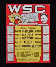 RARE 1956 WASHINGTON STATE COUGARS Vintage Football FOLD-OUT Poster-Schedule
