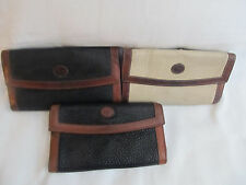 Lot of 3 Dooney & Bourke White Blue Vintage Large Checkbook Wallets Sold AS IS