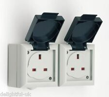 SMJ Outdoor/Exterior 13 Amp Double/Twin Socket - IP54 Rated - Easy Access Flaps