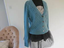 Pure collection ladies V neck teal green cardigan cashmere cable size 10