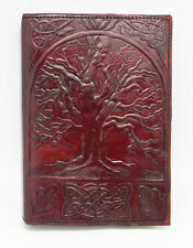 "Leather Embossed Tree Of Life Journal w, Leather Wrap Cord, 5""x7"" Hand"