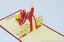 3D Paper Lady with Bicycle Pop up Cards, Free Shipping!