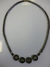 Hematite (Black/Grey) Necklace w/ Open Circle and Green Beads
