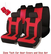 Zone Tech Universal Fit Red/Black Racing Style Car Seat Covers and Dice Set