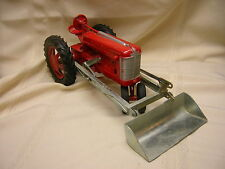 "Vintage Hubley Toy Tractor With Front Bucket Red & Silver 12 3/4"" X 5 1/2"""