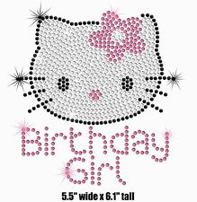 Hello Kitty Birthday Girl iron on rhinestone transfer applique bling patch