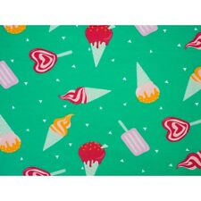 Printed Stretch Jersey Knit/Sweatshirt Fabric with elastem-Ice cream - HalfMetre