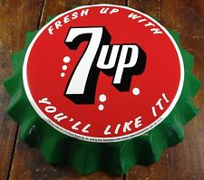FRESH UP WITH 7UP SEVEN UP YOU'LL LIKE IT! BOTTLE CAP SHAPED RETRO METAL SIGN