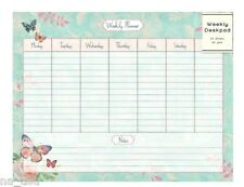 Weekly Desk Pad Organiser Planner Family Butterfly & ROSE Notebook Tear off