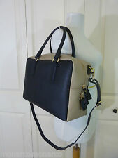 NWT Gianni Notaro Black/Beige Saffiano Leather Satchel Bag - Made in Italy