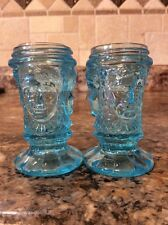 Vintage Blue Glass Three Face Salt & Pepper Shakers~L.G. Wright Or George Duncan