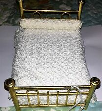 Vintage Miniature Doll House Brass Bed with Coverlet and Bolster