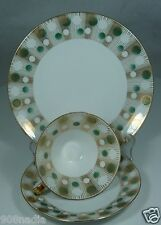 VINTAGE CUP/SAUCER/PLATE SET ART DECO GOLD,GREEN & WHITE CIRCLES