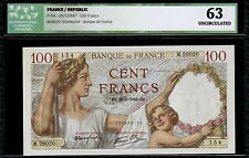 FRANCE BANKNOTE 100 francs 29-1-1942, P94, UNC, ICG graded *63*!