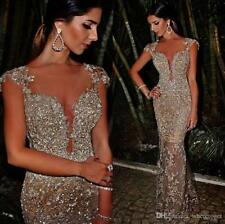 2017 Arabic Sheer Crew Neck Mermaid Evening Dress Dubai Sequins Prom Party Gown