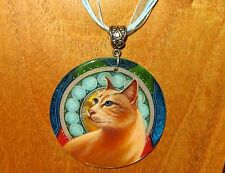 Russian SHELL hand painted pendant GINGER CAT ZODIAC A. Mucha signed UNIQUE GIFT