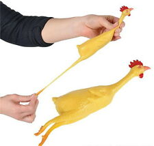 "1 STRETCH RUBBER CHICKEN 8"" GAG GIFT STRETCHABLE SQUEEZE STRESS RELIEF TOY PARTY"