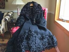 Vintage 70's WOOL AFGHAN FUR MAXI COAT Black XS/S/M VERY RARE!