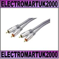 HIGH QUALITY TWIN RCA 2 PHONO LEAD CABLE 24K GOLD CONTACTS LENGTH 1.5M