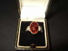 NEW THICK SILVER/AMBER RING SIZE N