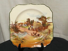 Royal Doulton Series Ware Display Plate Square 'Rustic England' Hay Wagon D6297