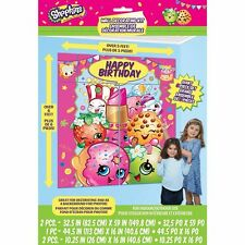 SHOPKINS SCENE SETTER Happy Birthday Party Wall Decoration Kookie Pink Backdrop