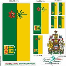 Canada Prv. Saskatchewan Car Caravan Truck Boot Sticker Flaggen set m Wappen