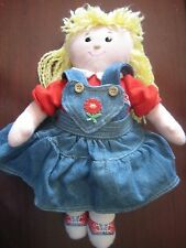 "Vintage 14"" Eden Doll Blonde Osh Kosh B'Gosh Denim Jumper Lovey Soft Girl Toy"
