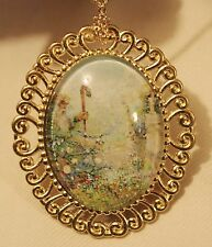 Shiny Swirl Rim Goldtone Maiden & Farmer Picking Cotton Necklace Brooch Pin