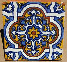 """10 Talavera Mexican 4"""" tile pottery hand painted pale blue  gold terra cotta"""