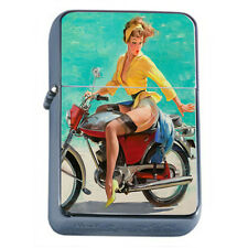 Windproof Refillable Fliptop Oil Lighter Classic Vintage Model Pin Up Girl D-163