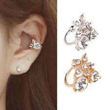 2 pcs  Gold Plated Crystal Diamonte Punk Ear Cuff Earring Clip on with stud 1