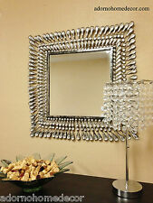 Metal Wall Square Crystal Mirror Rustic Modern Crystal Chic Wall Decor Unique