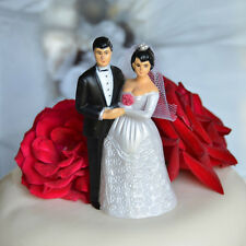 Vintage Bride and Groom Cake Topper Short Black Hair and Veil