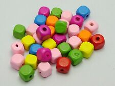 100 Mixed Bright Color 10X10mm Cube Wooden Wood Beads
