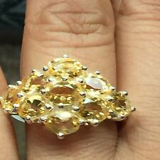 Estate Natural 9ct Golden Citrine 925 Solid Sterling Silver Edwardian Ring 8