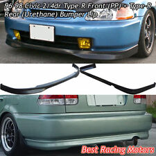 TR Style Front + TR Style Rear Lip (Urethane) Fits 96-98 Honda Civic 4dr