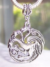 Oversize 3 Headed Dragon Pendant Dangle Bead for Silver European Charm Bracelets