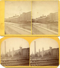 LAWRENCE MASS STEREOVIEW LOT PACIFIC MILL & WASHINGTON MILL BUILDINGS TRAINS BRD