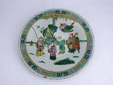 CHINE CHINA ancien plat en céramique émaillé polychrome Famille Verte Cina