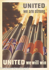 Postcard: United We Are Strong, United We Will Win (Koerner 1943 Poster) (2014)