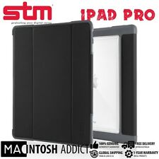 "STM Dux Plus Rugged TPU Clear Folio Cover Case + Stand For iPad Pro 9.7"" BLACK"