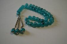 ISLAMIC PRAYER TURKISH TESPIH BLUE AQUA 33 PC BEADS 8.5 MM