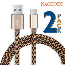 2x Nacodex USB 3.1 Braided Type-C Cable Charging USB-C to USB-A 3FT(1m) - Golden